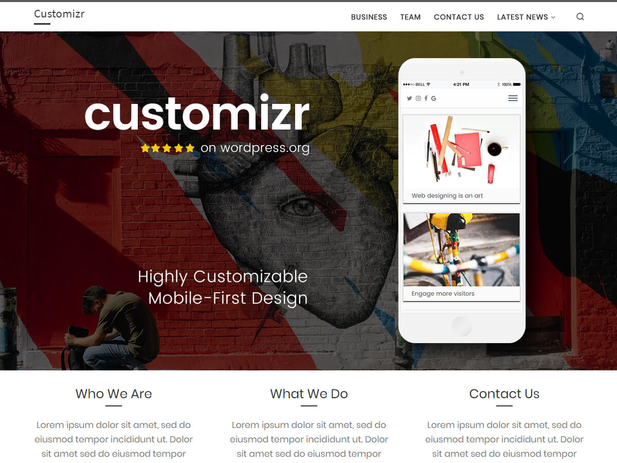 Customizr ist ein perfekt responsives Theme